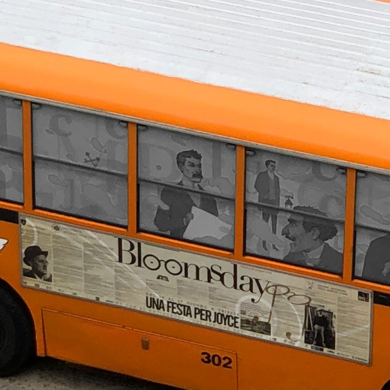 The Buseum, a bus and a museum, under the windows of the house where JJ lived
